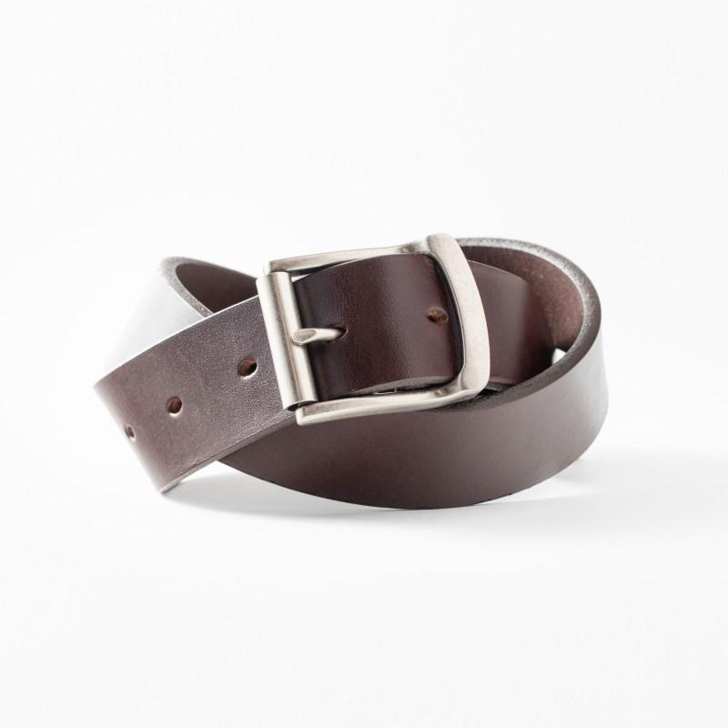 Bridle leather belt for men full grain leather dark brown