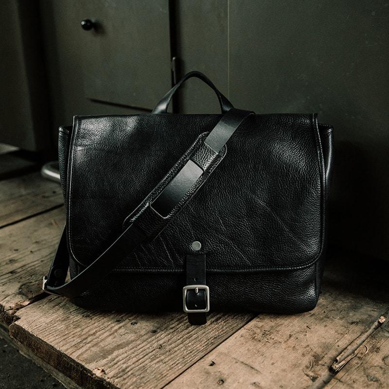 Black Leather Messenger Bag U S Quality Duvall Leatherwork