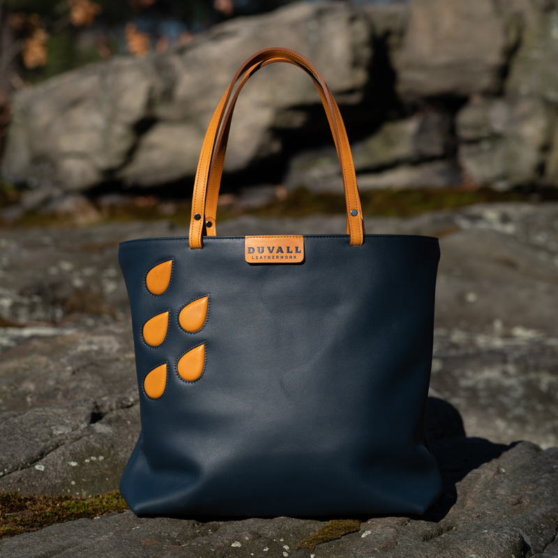 Navy leather tote bag handmade