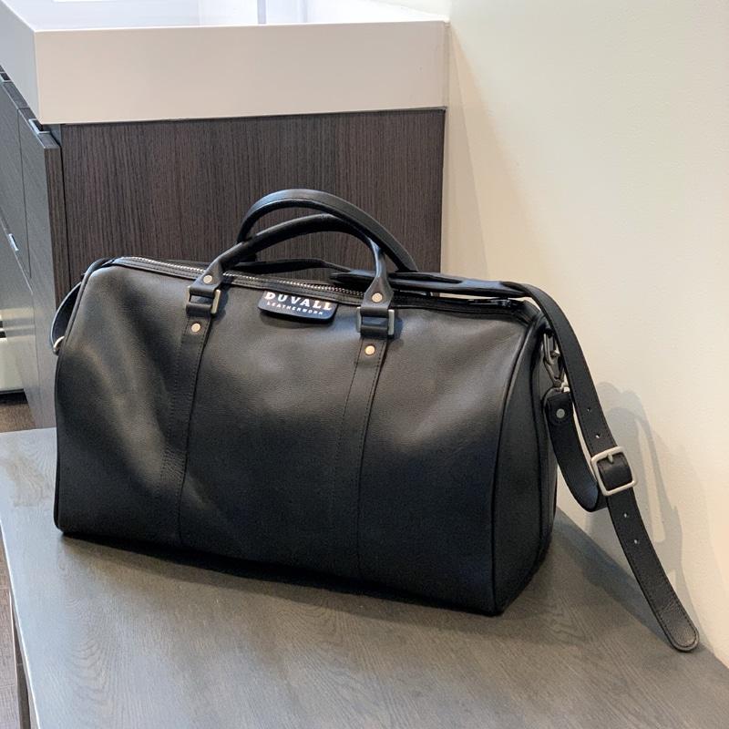 Black leather overnight bag
