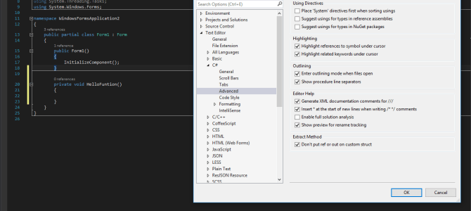 Method line Separators C# visual studio 2015