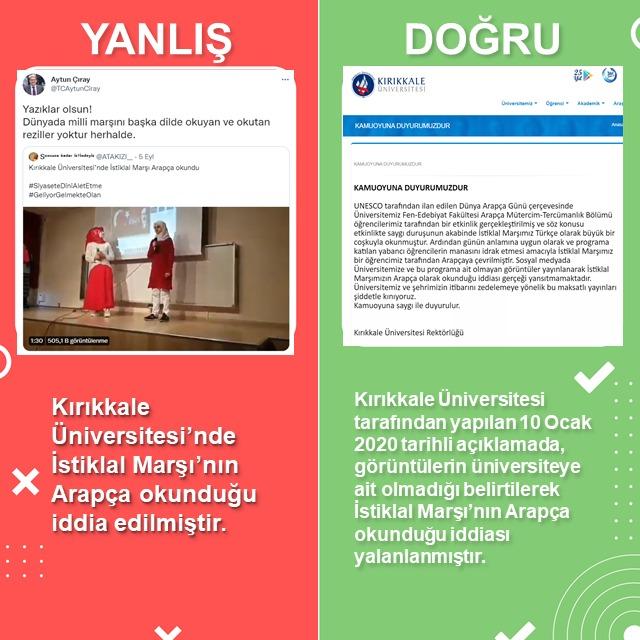 Kırıkkale Üniversitesi'nde İstiklal Marşı'nın Arapça okunduğu iddia edilmiştir