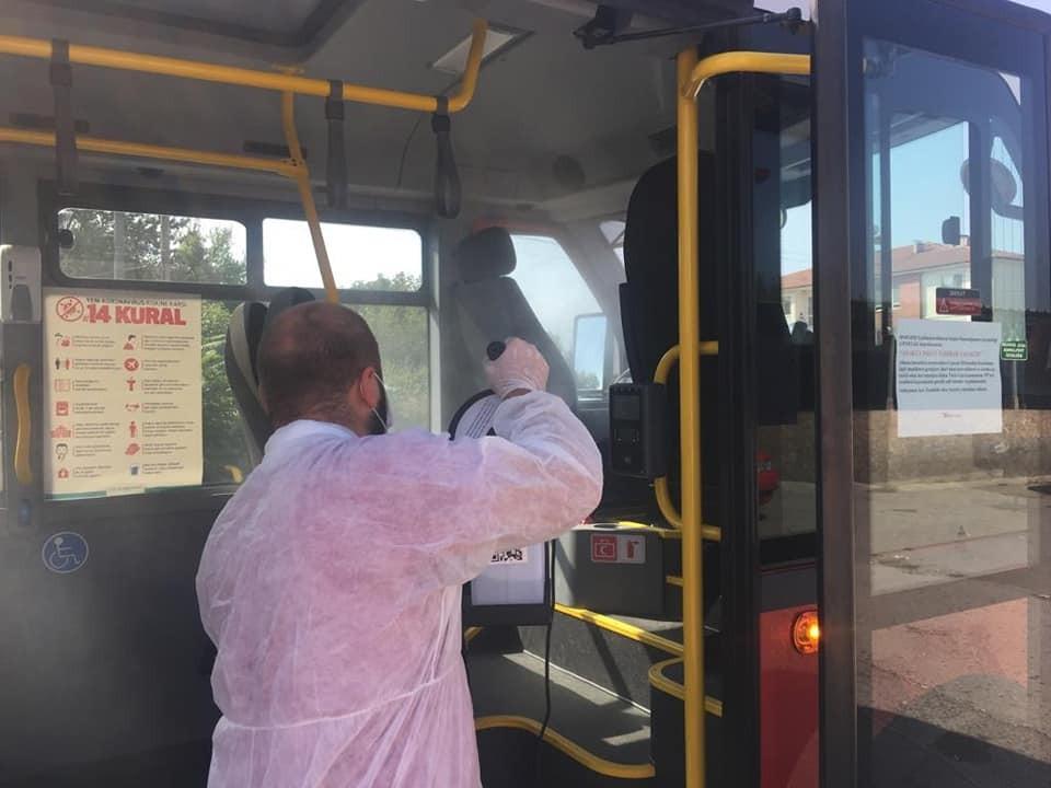 Düzce ulaşım araçları her gün dezenfekte ediliyor