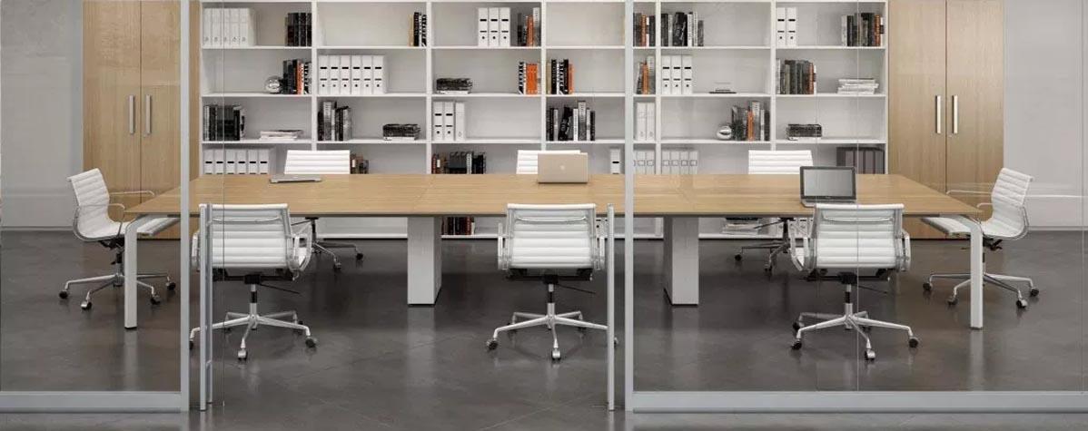 Office furniture, glass partitions, raised flooring, vinyl flooring