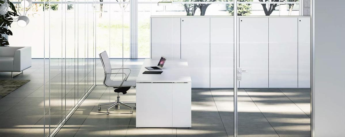 Office furniture, glass partitions, desk, chair, flooring