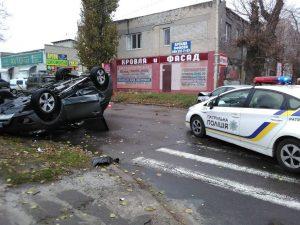 В Херсоне в результате аварии перевернулось авто: пострадал ребенок