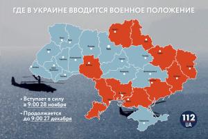 военное положение в 10 областях Украины
