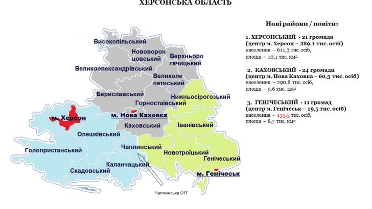 Три «повіта»: концепция территориально-административной реформы в Херсонской области