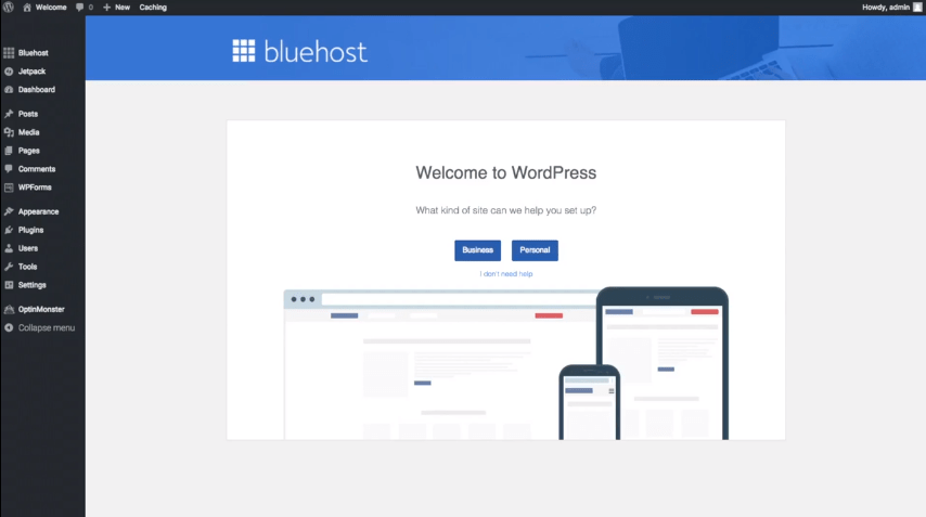 bluehost wordpress dashboard