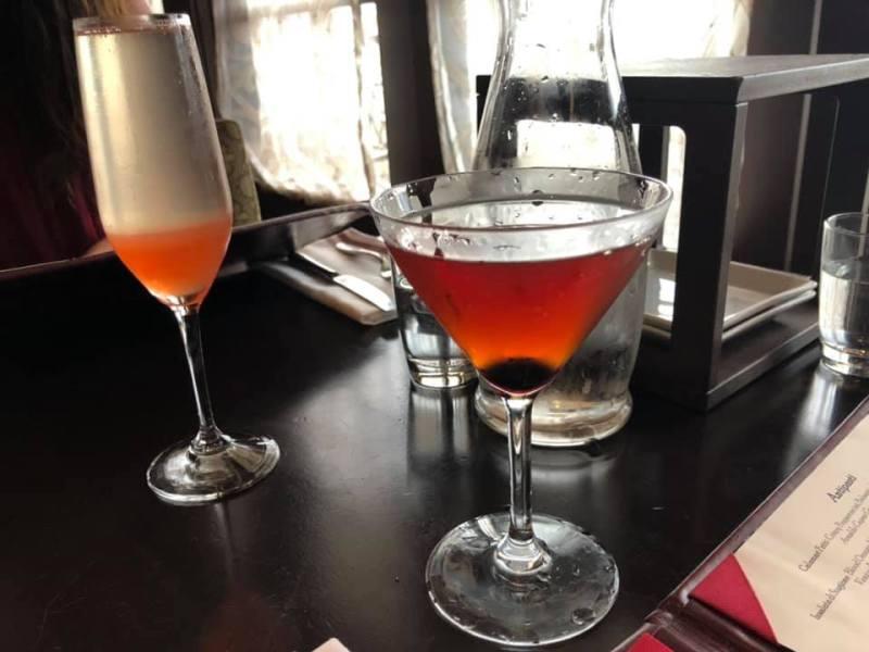 Peach Bellini and Italian Manhattan - Trattoria al Forno
