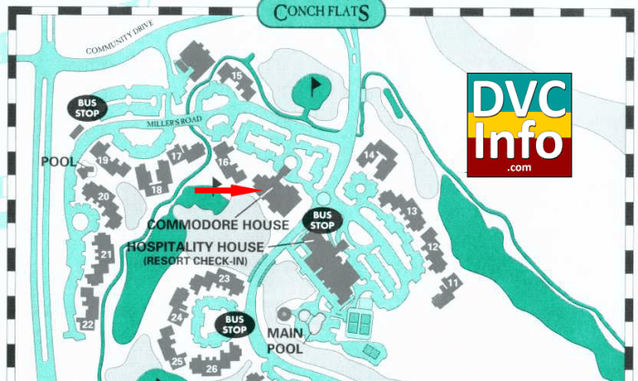 Conch Flats map showing Commodore House