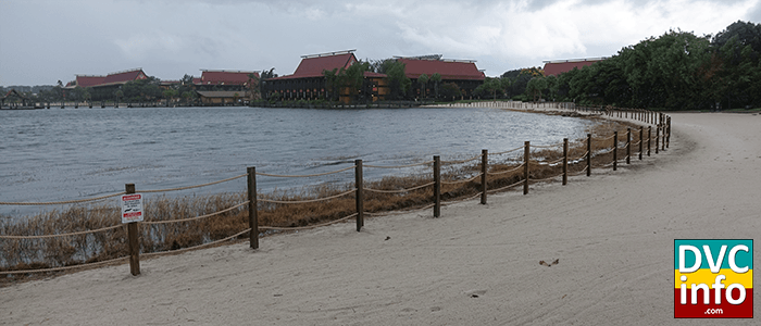 Temporary fence and signs along shoreline