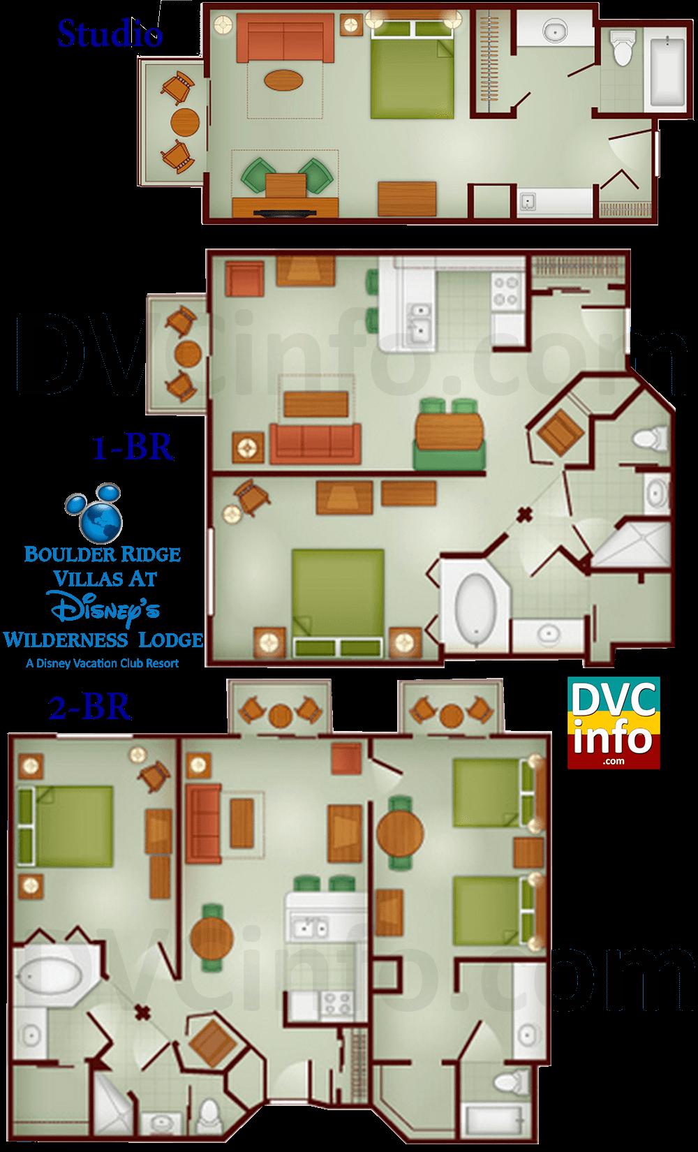 Boulder ridge villas at disney 39 s wilderness lodge for Villas floor plans