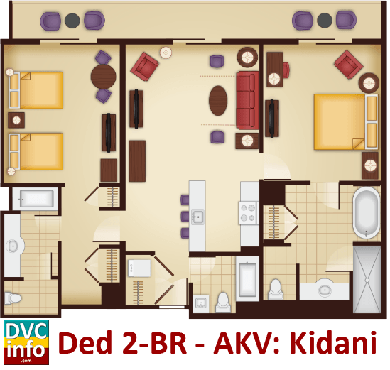 Disney 39 s animal kingdom villas dvcinfo for Animal kingdom 2 bedroom villa floor plan