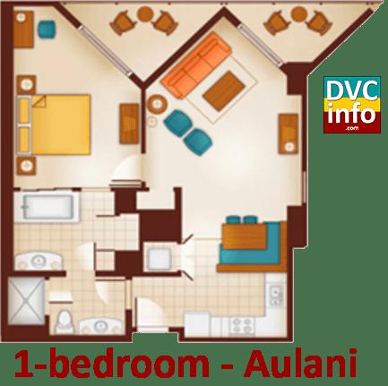 1-bedroom floor plan - Aulani
