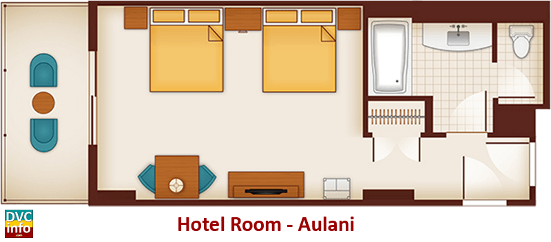 Hotel room floor plan - Aulani