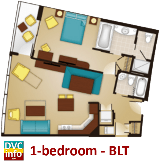 1-bedroom floor plan - Bay Lake Tower