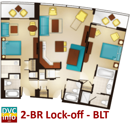 2-bedroom lock-off floor plan - Bay Lake Tower
