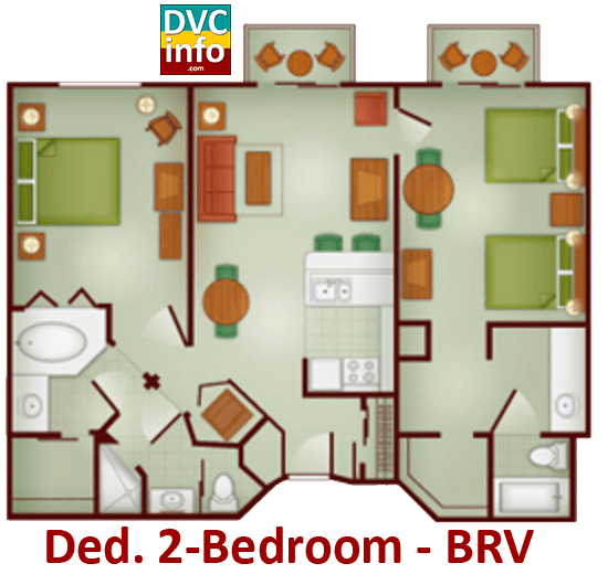 Dedicated 2-bedroom floor plan - Boulder Ridge Villas