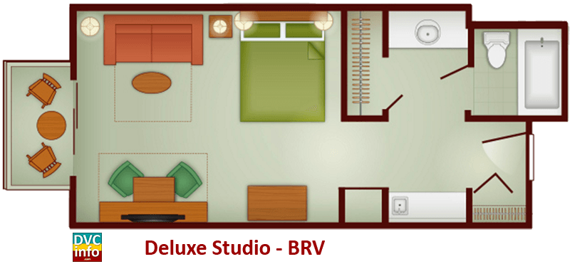 Studio floor plan - Boulder Ridge Villas
