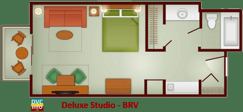 Studio floor plan - Boulder Ridge Villas