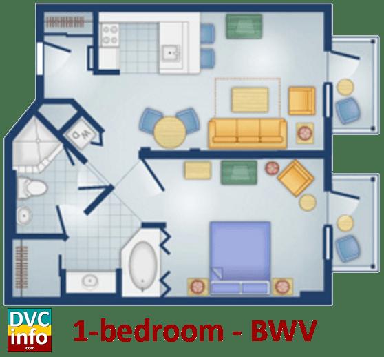 1-bedroom floor plan - BoardWalk Villas