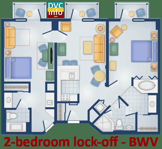 2-bedroom floor plan - BoardWalk Villas