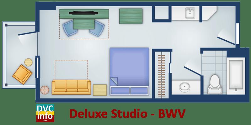 Studio floor plan - BoardWalk Villas