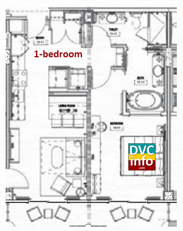 Copper Creek Villas - 1-bedroom floor plan
