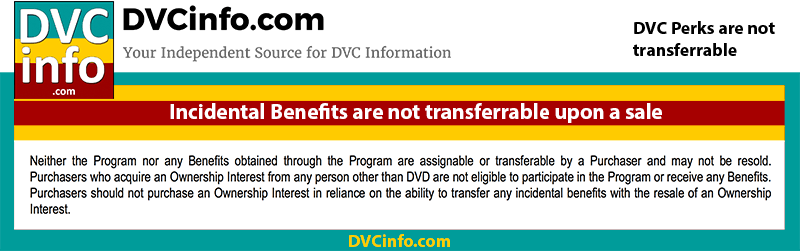 DVC Perks are not transferrable to buyer upon a sale