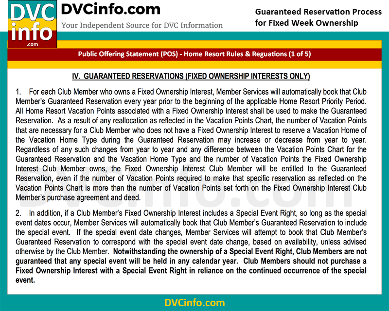 DVC Guaranteed Week Reservation Rules (1 of 5)