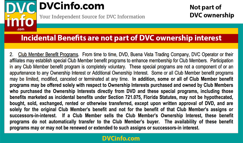 DVC Perks are not part of the DVC ownership