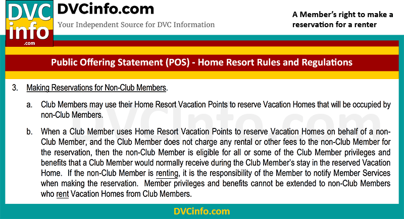Member's right to make a reservation for a renter