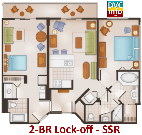 2-BR lock-off floor plan - Saratoga Springs Resort