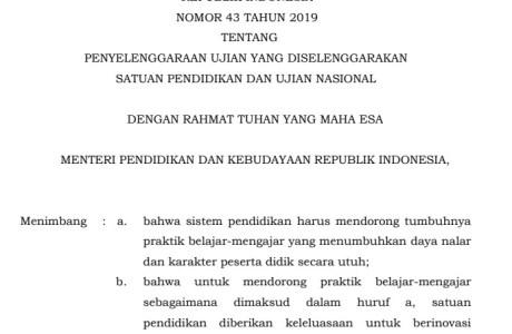Permendikbud Nomor 43 Tahun 2019 tentang Ujian dan Ujian Nasional