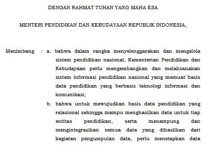 Download Permendikbud Nomor 79 Tahun 2015 tentang Dapodik