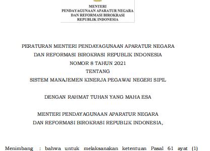 PermenPANRB Nomor 8 Tahun 2021 tentang Sistem Manajemen Kinerja PNS
