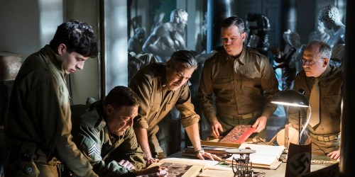 The Monuments Men waaronder George Clooney en Matt Damon in The Monuments Men
