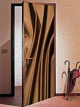 Использование ткани в оформлении полотна двери