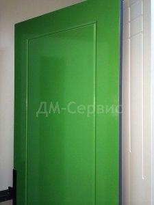 глухая дверь окрашенная в зеленый цвет