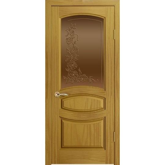 Дверь с натуральным шпоном «Изабелла Бронза» (со стеклом)