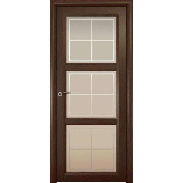 Межкомнатная шпонированная дверь «Optima-3 Решетка» (со стеклом)