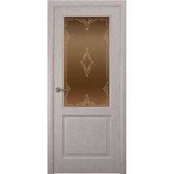 Дверь с натуральным шпоном «Парма Ажур бронза» (со стеклом)