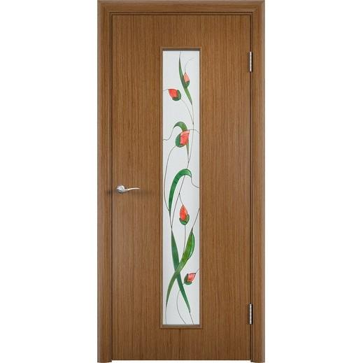 Межкомнатная дверь «C-21 Х Изумруд», шпон fine-line (со стеклом)