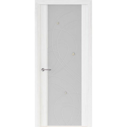 Межкомнатная шпонированная дверь «Murano-2 Белое» (со стеклом)