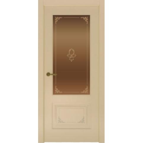 Межкомнатная дверь с эмалью «Flora 2 Бронза» (со стеклом)
