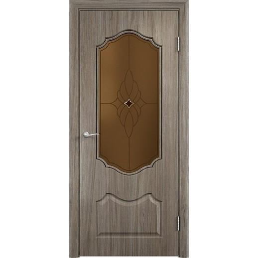 Межкомнатная дверь скин экошпон «Венера ДО Ромб темный» (со стеклом)