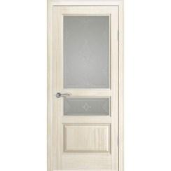 Дверь с натуральным шпоном «Марсель Белый» (со стеклом)
