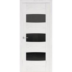 Межкомнатная шпонированная дверь «Rona-4 Черная» (со стеклом)