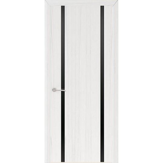 Межкомнатная шпонированная дверь «Шторм-2 Черный» (со стеклом)